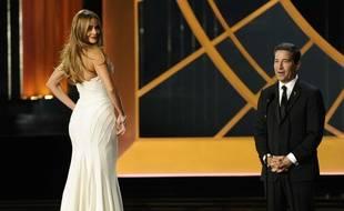 Sofia Vergara sur un piédestal tournant aux 66e Emmy Awards, le 25 août 2014.