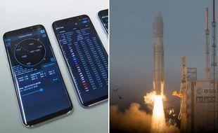 A gauche, des smartphones équipés de la géolocalisation Galileo. A droite, la fusée Ariane 5 décollant de Kourou le 12 décembre 2015.