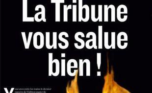La Une du dernier numéro de La Tribune, daté du 30 janvier 2012.