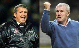 Rolland Courbis (G), l'ancien entraîneur  de l'AC Ajaccio, le 11 janvier 2003 et Luis Fernandez (D), le nouvel entraîneur  de Reims, le 22 janvier 2009.
