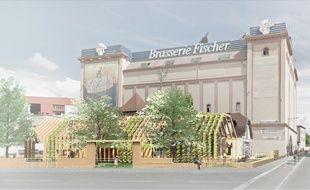 """La future Fischerstub à Schiltigheim avec un """"biergarten"""" à la place du parking? Peut-être. C'est le projet lauréat du concours d'idées proposé par Clémentine Dufaut et Thomas Guilhen pour la rénovation de la brasserie."""