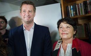 Yannick Jadot et Michèle Rivasi, le 19 octobre 2016 à l'issue du premier tour de la primaire d'EELV.