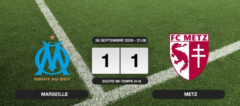 OM - Metz: Match nul entre l'OM et Metz sur le score de 1-1