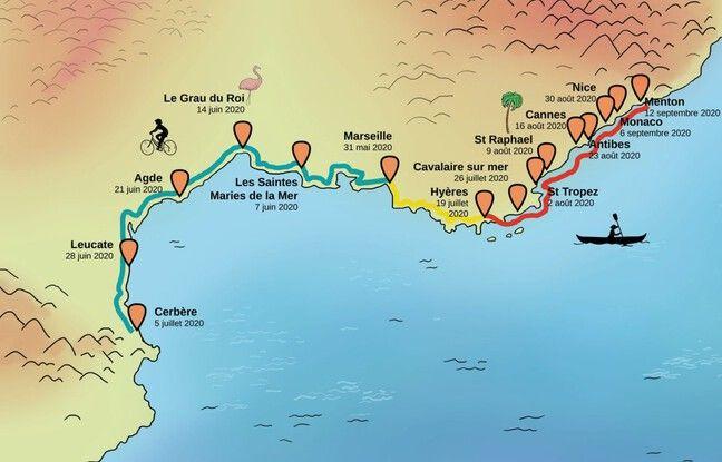 La carte du trajet d'Anaëlle durant l'été 2020.
