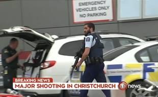Image extraite d'un journal télévisé néo-zélandais, le 15 mars 2019, après des fusillades contre deux mosquées à Christchurch.