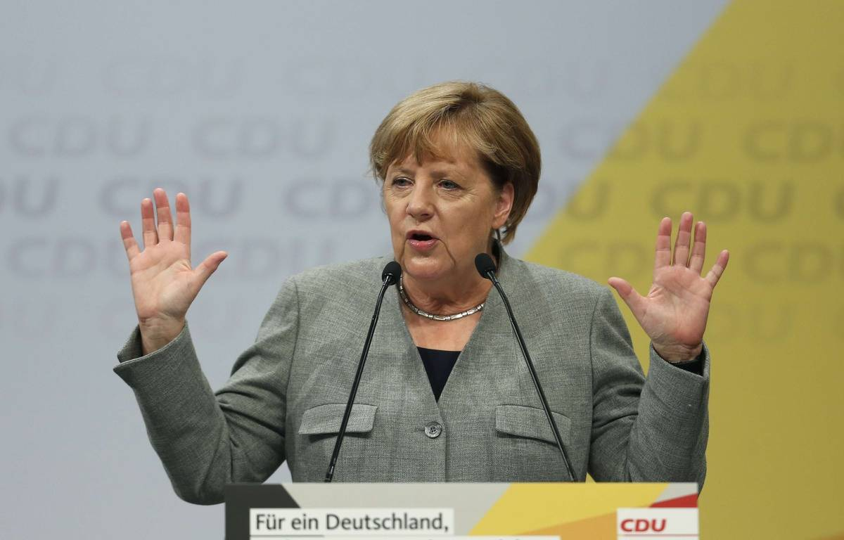 Angela Merkel le 12 août 2017. – Ina Fassbender/AP/SIPA