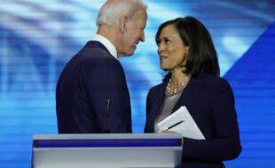 Joe Biden et Kamala Harris lors d'un débat de la primaire démocrate, le 12 septembre 2019.