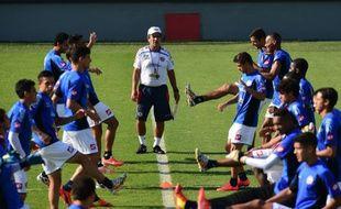 Jorge Pinto et ses joueurs lors d'un entraînement du Costa Rica, le 2 juin 2014, à Santos.