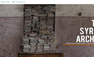 Capture d'écran du site Syrian Archive soutenu par plusieurs ONG et visant à récolter des preuves du conflit en cours.