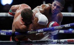 Joshua a couché Pulev lors du 9e round à Londres, samedi.