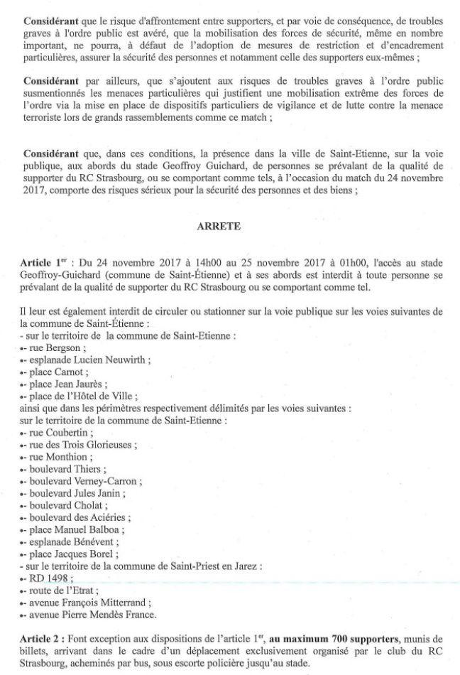 La page 3 de l'arrêté restreignant le déplacement des supporters strasbourgeois à Saint-Etienne, pour la rencontre de Ligue 1 prévue ce vendredi 24 novembre.