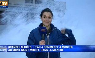 La journaliste de BFM TV Fanny Agostini, en direct de Saint-Malo.