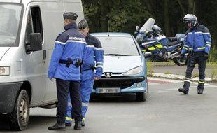 Thumeries, le 16 octobre 2013. Operation de controles de la gendarmerie nationale.