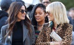 Sandra Bullock, Rihanna et Cate Blanchett sur le tournage de «Ocean's Eight» à New York (Etats-Unis) le 7 novembre 2016.