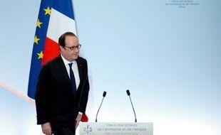 Le président François Hollande lors de ses voeux aux acteurs de l'entreprise et de l'emploi, le 18 janvier 2016 à Paris