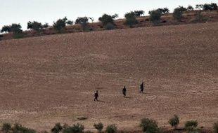 Des membres présumés du groupe Etat islamique sur une colline à l'ouest de Kobané, en Syrie le 18 octobre 2014