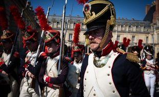 Fontainebleau, 20 avril 2019. Une centaine de figurants participent à une reconstitution historique, d'un sejour de Napoléon et Joséphine au château de Fontainebleau, en avril 1809.