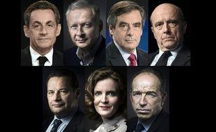 Nicolas Sarkozy, Bruno Le Maire, François Fillon, Alain Juppé, Jean-Frédéric Poisson, Nathalie Kosciusko-Morizet et Jean-François Copé sont les candidats à la primaire de la droite et du centre.