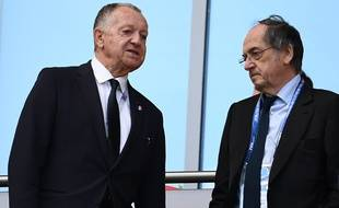 Jean-Michel Aulas et Noël Le Graët lors du match France-Australie en Coupe du monde, le 16 juin 2016.