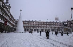 Madrid sous la neige, le 9 janvier 2021. Mayor Square