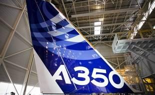 Colomiers, le 23 octobre 2012. Usine d'assemblage de l'A350 XWB, le dernier né d'Airbus, le jour de l'inauguration officielle.