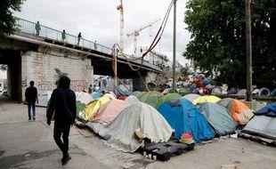 Le camp de migrants d'Aubervilliers, le 17 juillet 2020.