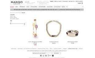 Capture d'écran du site de vente en ligne de la marque de prêt-à-porter Mango, qui commercialise des bijoux «esclave», le 4 mars 2013.