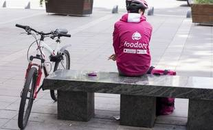 Un livreur de repas Foodora en mai 2016 (image d'illustration).