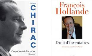 Montage des couvertures des livres de Jacques Chirac et François Hollande.