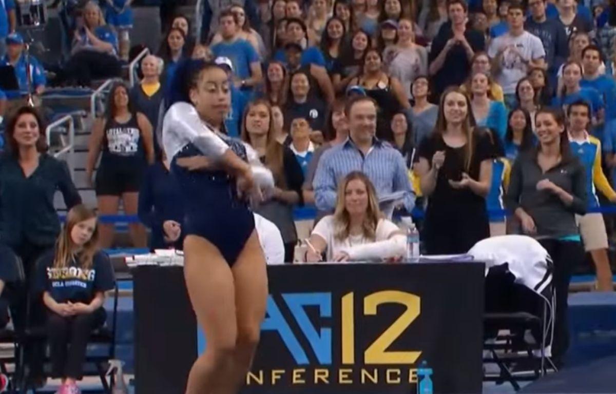 La gymnaste Sophina DeJesus a réalisé une performance aux inspurations hip-hop le 6 février 2016 à UCLA. – Pac12 Live via YouTube