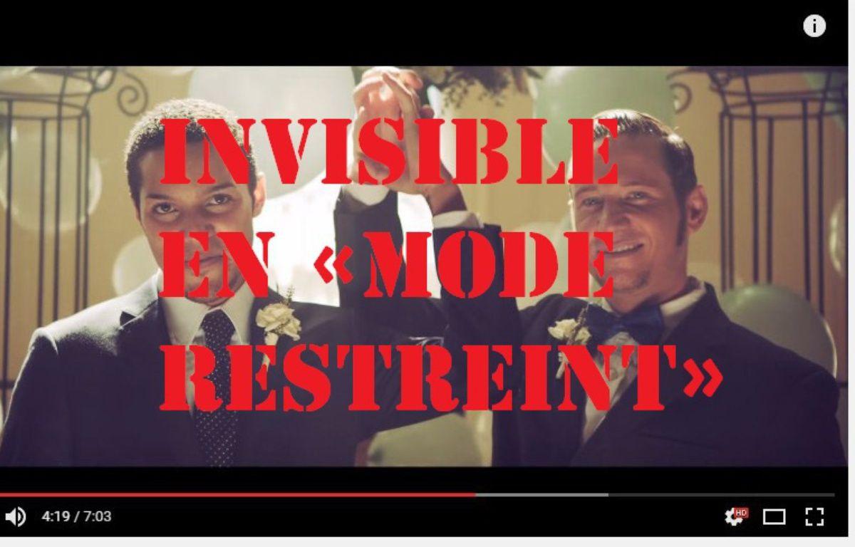 Le «mode restreint» de YouTube rend impossible le visionnage de certains contenus liés aux thématiques LGBT, comme le clip de «Same Love», le tube de Macklemore. – Capture d'écran YouTube
