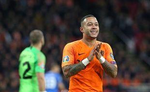Memphis Depay s'est blessé lors de la victoire (5-0) des Pays-Bas contre l'Estonie, mardi à Amsterdam.
