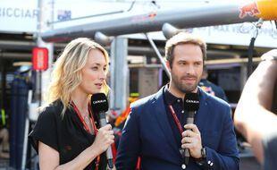 Les journalistes Laurie Delhostal et Julien Fébreau lors du Grand Prix de F1 de Monaco, le 25 mai 2016.