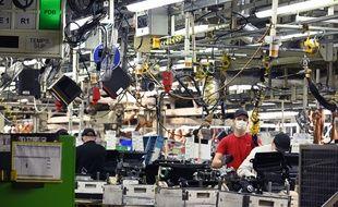La zone d'assemblage dans l'usine Toyota de Onnaing le 19 mai 2020.