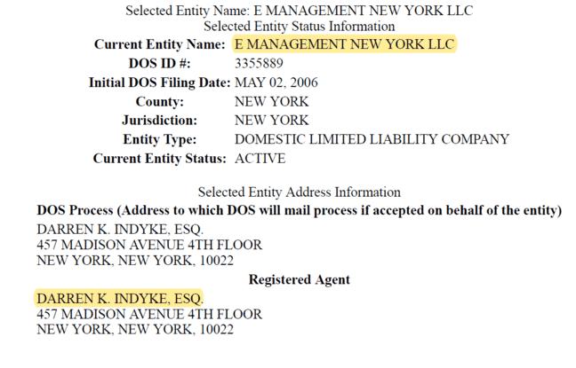 La société E Management New York LLC a été déposée par l'avocat de Jeffrey Epstein, Darren InDyke, le 2 mai 2006.