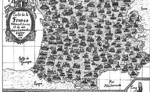 Pablo a dessiné cette carte de France et ses 101 départements en une semaine à l'aide d'une plume et de l'encre de Chine.