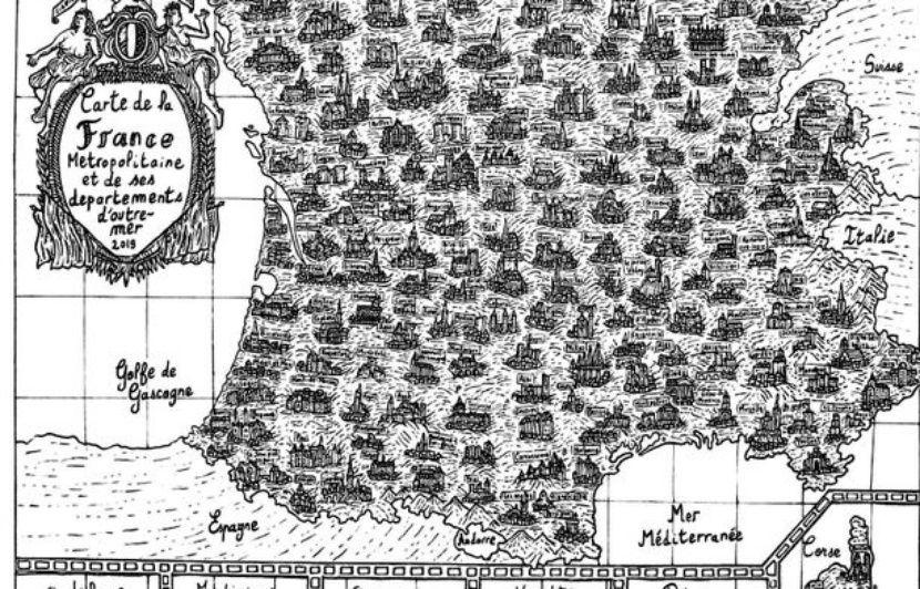 Une incroyable carte de France dessinée à l'encre de Chine par un étudiant fascine les internautes