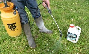 Un jardinier utilisant des produits phytosanitaires pour désherber. (Illustration).