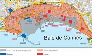 Plan téléchargeable sur www.cannes.frZone sécuriséeParkingsZone de sécurisation renforcéeHôtels
