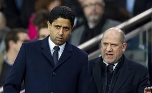 Nasser Al-Khelaïfi et Antero Henrique, président et directeur sportif du PSG, lors du match contre Nantes le 22 décembre 2018 au Parc des Princes.