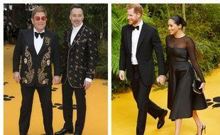 Elton John et son mari David Furnish, le prince Harry et son épouse Meghan Markle, duc et duchesse de Sussex, le 14 juillet 2019 à Londres, lors de l'avant-première du «Roi Lion»