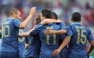 Les Français Benzema, Nasri et Malouda, le 31 mai 2012 contre la Serbie, àReims.