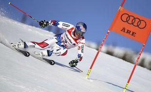 Alexis Pinturault lors de la première manche du slalom géant des Mondiaux d'Are, le 15 février 2019.