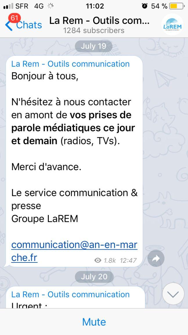 Capture d'une conversation Telegram du groupe La République en Marche.