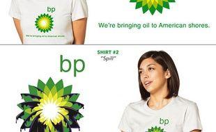 Des tee-shirts parodiant les slogans et logos de BP.