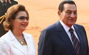 Le président égyptien Hosni Moubarak et son épouse Suzanne à New Delhi, en Inde, le 18 novembre 2008.
