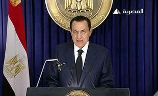 Le président égyptien Hosni Moubarak lors d'un discours télévisé, le 1er février 2011.