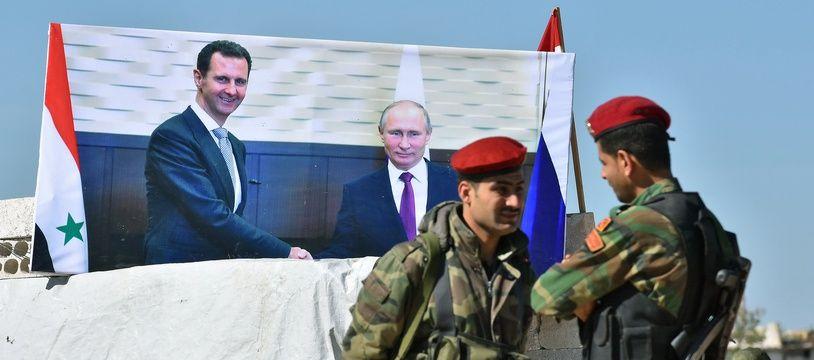 Le président russe Vladimir Poutine a rencontré le président syrien, Bachar al-Assad, le 17 mai 2018, à Sotchi (Russie).