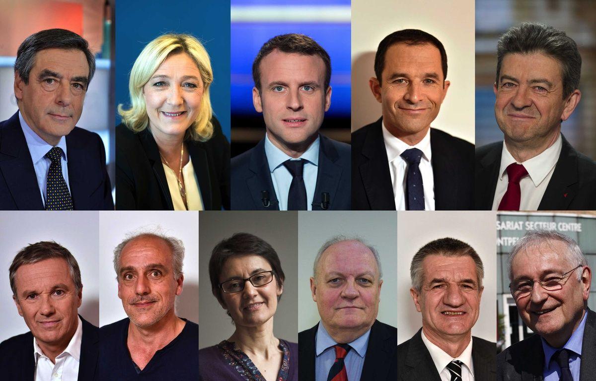 Illustration des 11 candidats à l'élection présidentielle le 23 avril 2017. – IBO/CHAMUSSY/NICOLAS MESSYASZ/TARDIVON JEAN CHRISTOPHE/SIPA