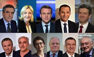 Illustration des 11 candidats à l'élection présidentielle le 23 avril 2017.
